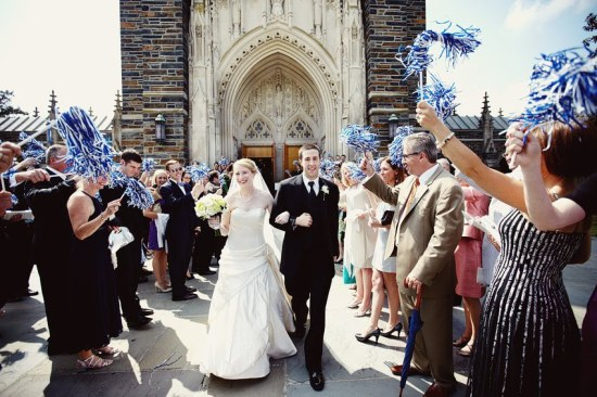 Duke University wedding exit with pom poms - Wedding Belles Blog