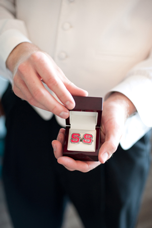 NC State cuff links - Wedding Belles Blog