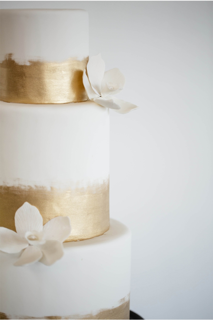 Hand-Painted Gold and White Wedding Cake - Fairly Southern