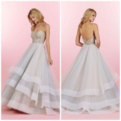 Striped Hayley Paige Wedding Gown - Wedding Belles Blog