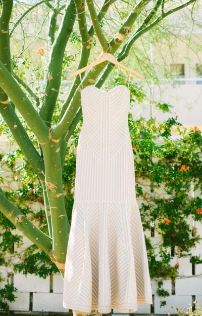 Striped Herve Leger Wedding Gown - Wedding Belles Blog