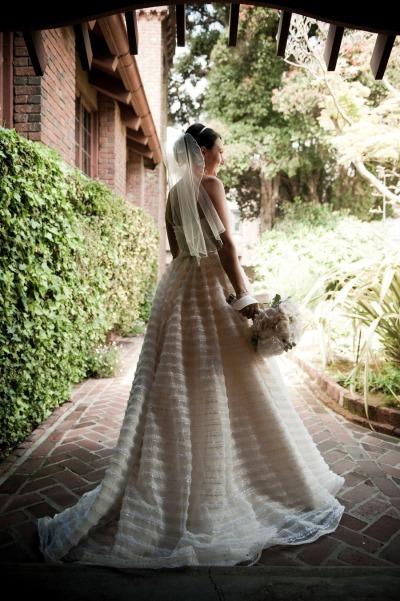 Striped Christos Wedding Gown - Wedding Belles Blog