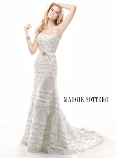 Striped Lace Maggie Sottero Wedding Gown - Fairly Southern