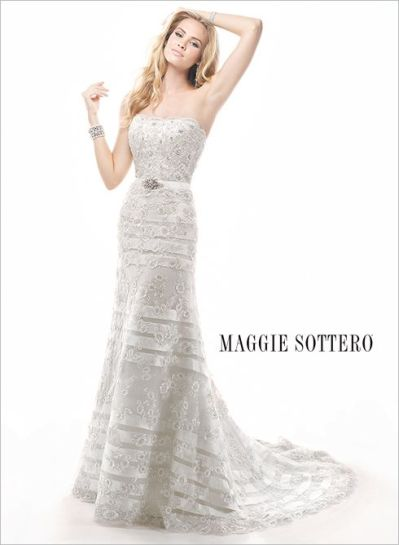 Striped Lace Maggie Sottero Wedding Gown - Wedding Belles Blog