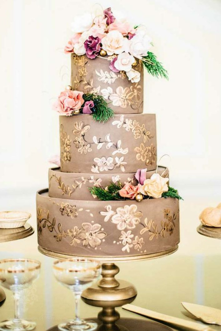 Ornate Gold Hand-Painted Wedding Cake - Fairly Southern