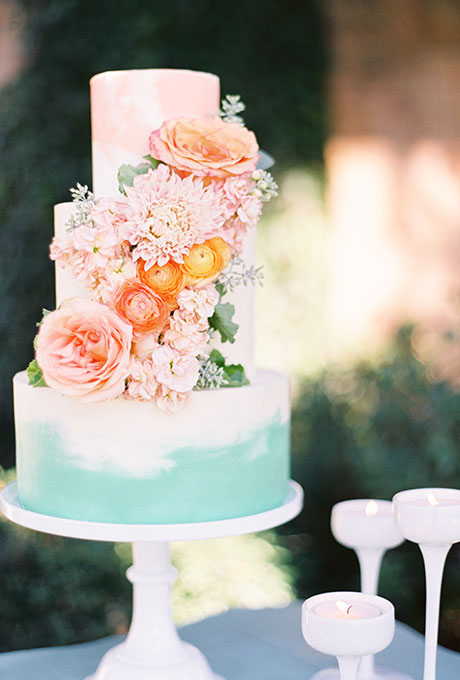 Peach and Aqua Watercolor Wedding Cake - Wedding Belles Blog