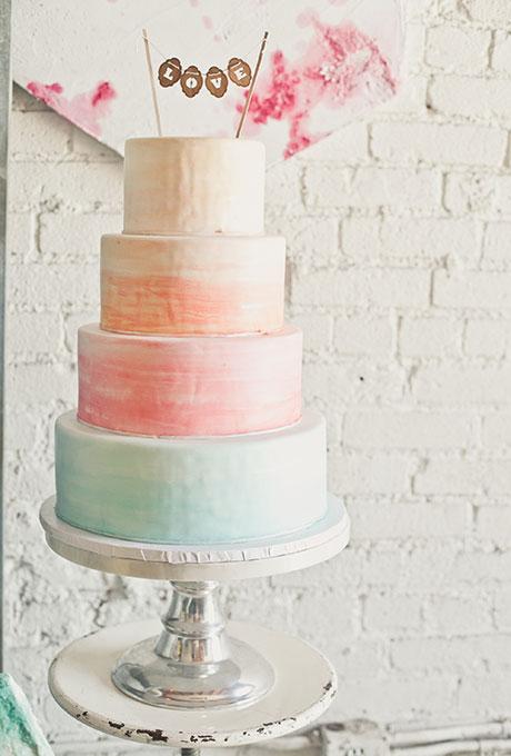 Watercolor Wedding Cake in Sherbert Tones - Wedding Belles Blog
