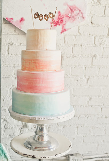 Watercolor Wedding Cake in Sherbert Tones - Wedding Belles Blog