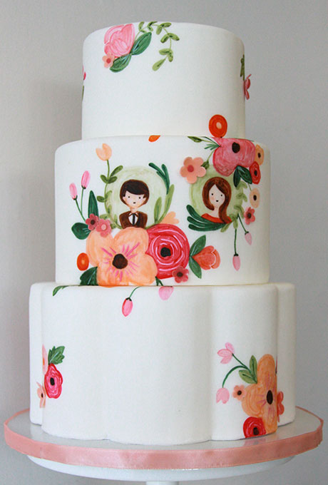 Personalized, Hand-Painted Floral Wedding Cake Featuring Bride and Groom Motifs - Wedding Belles Blog