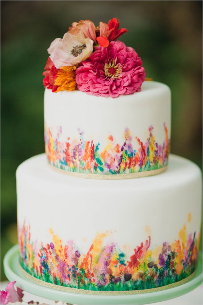 Bright and Bold Hand-Painted Floral Wedding Cake - Fairly Southern