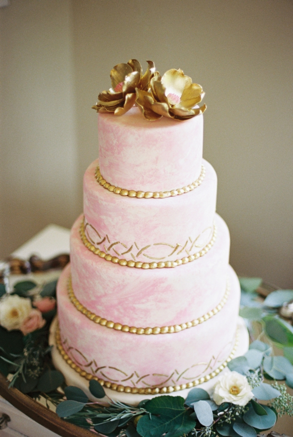 Pink and Gold Watercolor Wedding Cake - Fairly Southern