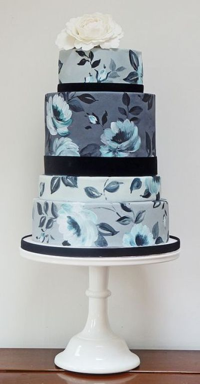 Hand-Painted Moody Blues Floral Wedding Cake - Fairly Southern