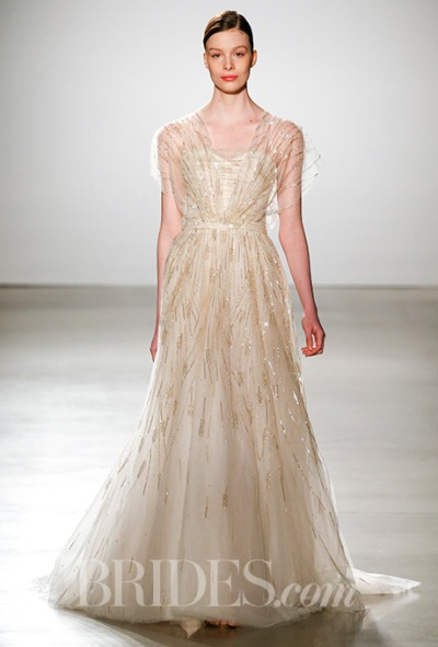Amsale Spring 2016 champagne wedding dress with gold beading, via Brides - Wedding Belles Blog