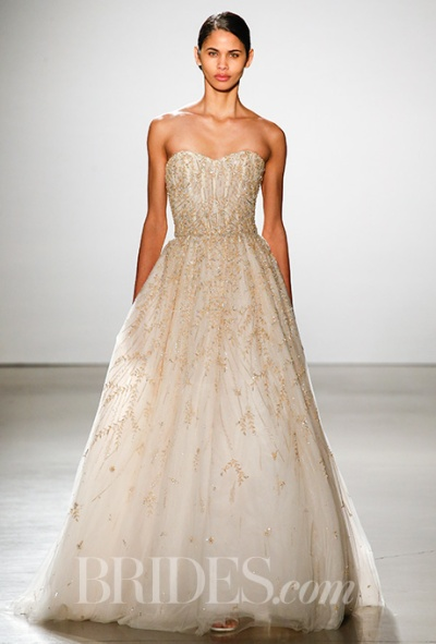 Amsale Spring 2016 gold beaded strapless ball gown wedding dress, via Brides - Fairly Southern