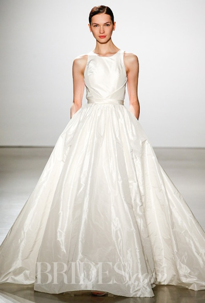 Amsale Spring 2016 classic taffeta ball gown wedding dress, via Brides - Wedding Belles Blog