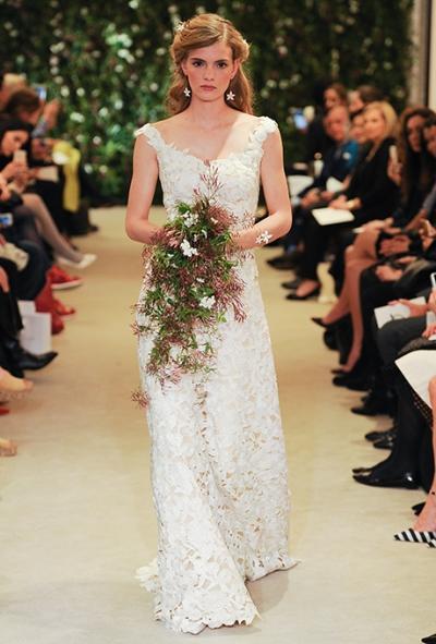 Carolina Herrera Spring 2016 all over lace wedding gown, via Brides - Wedding Belles Blog
