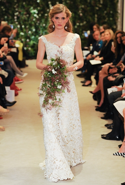 Carolina Herrera Spring 2016 all over lace wedding gown, via Brides - Wedding Belles Blog