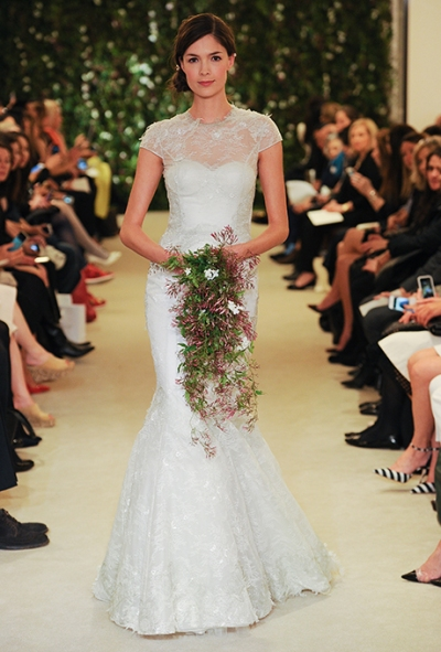 Carolina Herrera Spring 2016 vintage lace mermaid wedding gown, via Brides - Wedding Belles Blog