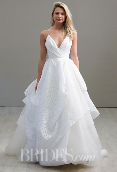 Hayley Paige Spring 2016 geometric print strapless wedding gown, via Brides - Wedding Belles Blog
