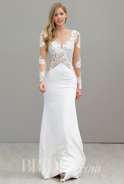 Hayley Paige Spring 2016 fitted silk and lace wedding gown with long lace sleeves, via Brides - Fairly Southern