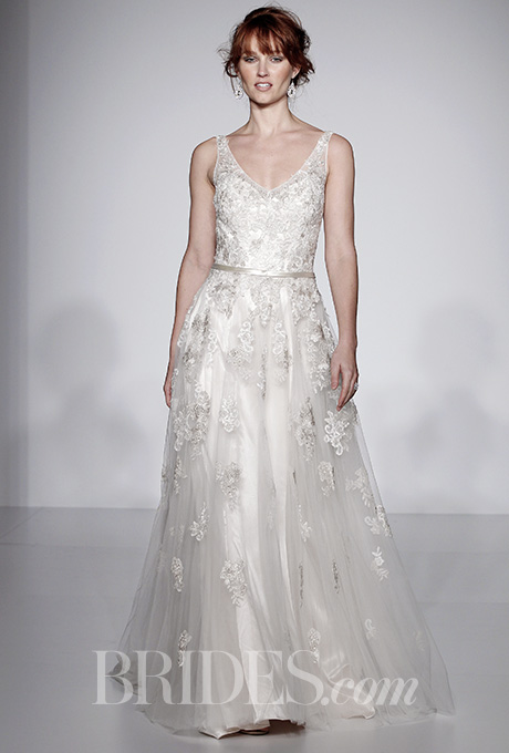 Maggie Sottero Spring 2016 V-neck wedding dress with lace appliques, via Brides - Fairly Southern