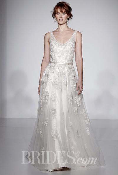 Maggie Sottero Spring 2016 V-neck wedding dress with lace appliques, via Brides - Wedding Belles Blog