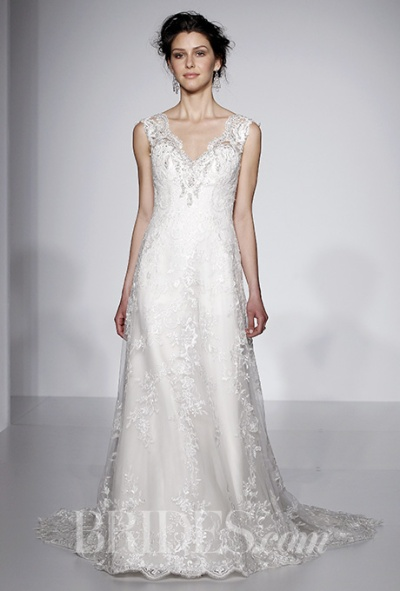 Maggie Sottero Spring 2016 scalloped v-neck a-line wedding gown, via Brides - Wedding Belles Blog