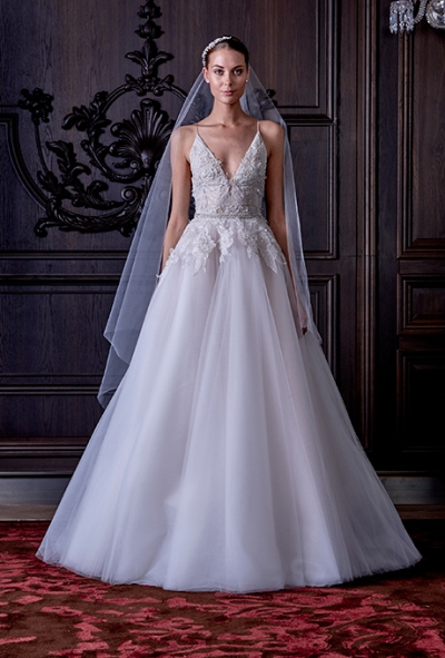 "Monique Lhuillier Spring 2016: ""Ella"" tulle A-line wedding dress with floral overlay, via Brides - Wedding Belles Blog"