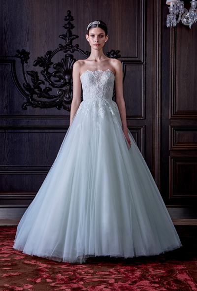 "Monique Lhuillier Spring 2016: ""Roma"" Chantilly lace strapless corset ball gown with tulle skirt, via Brides - Wedding Belles Blog"