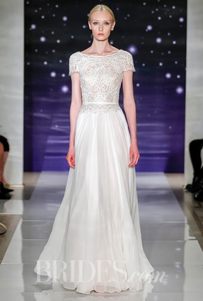 Reem Acra Spring 2016 silk chiffon bateau neck wedding dress with embroidered bodice and low back detail, via Brides - Wedding Belles Blog