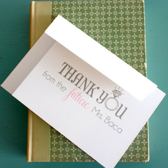 "Personalized ""Future Mrs."" Thank You Notes from Put A Case On Me - Wedding Belles Blog"