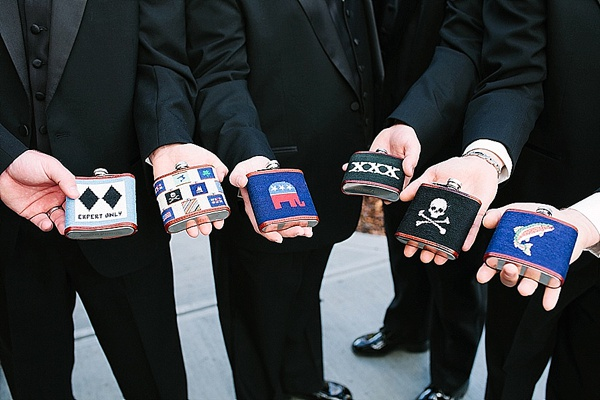 Custom Groomsmen Flasks - Preppy and Classic Kelly Green Wedding - Wedding Belles Blog