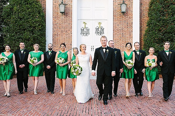 Monogrammed Church Doors - Preppy and Classic Kelly Green Wedding - Wedding Belles Blog