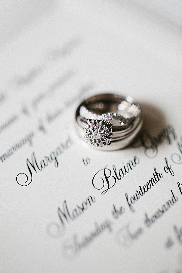 Wedding rings and invitation shot - Preppy and Classic Kelly Green Wedding - Wedding Belles Blog
