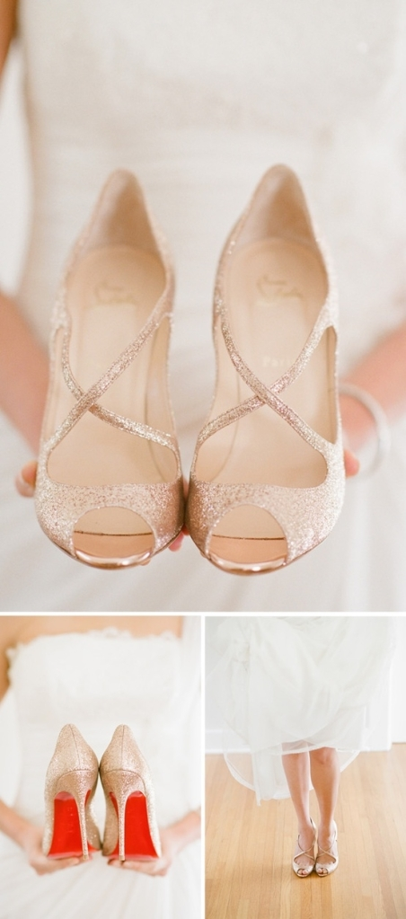 Christian Louboutin gold pumps - Wedding Belles Blog