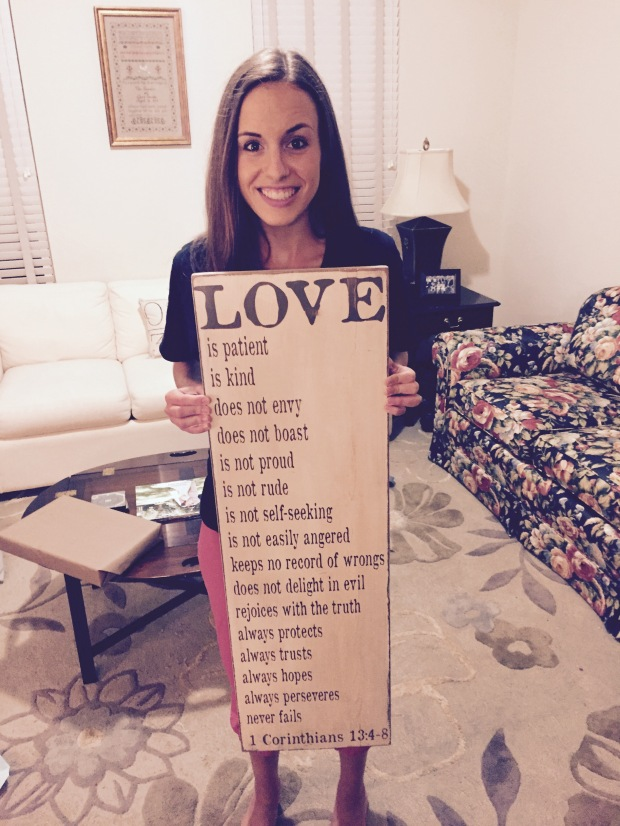 1 Corinthians 13:4-8 Wooden Sign - Fairly Southern