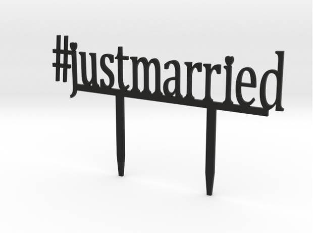 3D Printed #justmarried Cake Topper - Trés Belle Blog