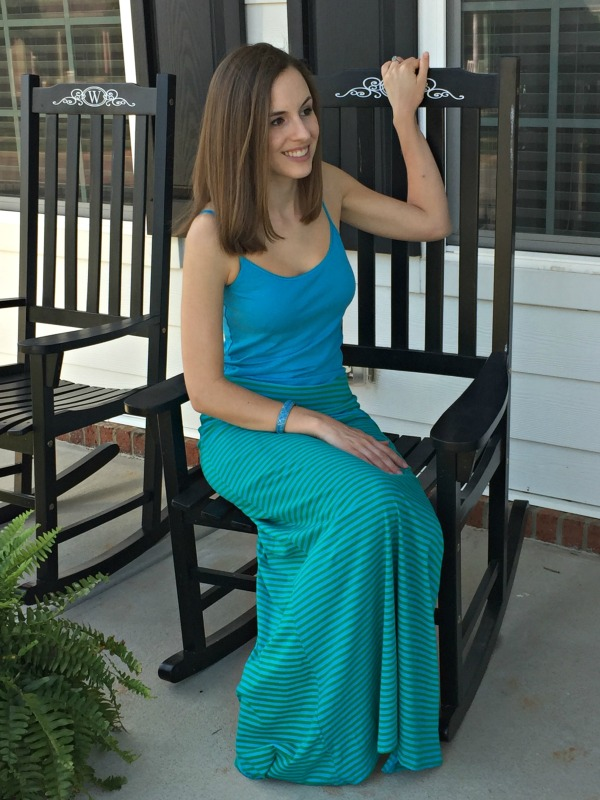 Green and Blue Threads4Thought Fair Trade Maxi Skirt | Très Belle