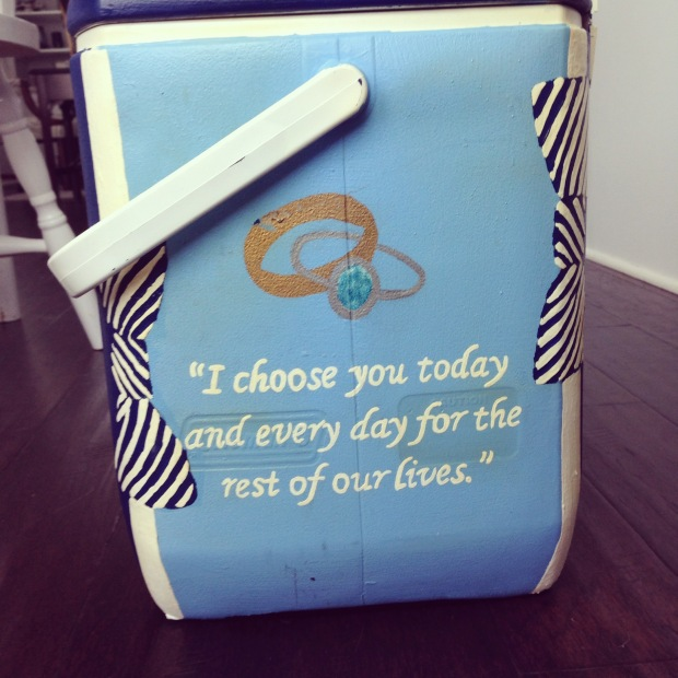 Wedding cooler with wedding vows | Fairly Southern