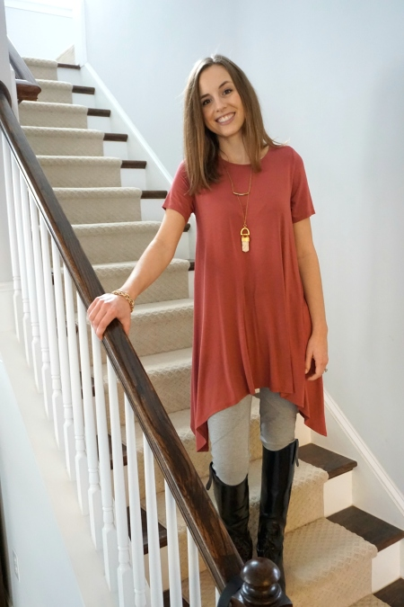 Fair trade amulet necklace + made in the USA Annabelle top + Free People leggings from Poshmark |  Trés Belle