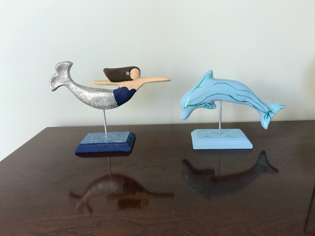 Ceramic mermaid and dolphin from The Mermaid Factory in Norfolk, VA  |  Trés Belle